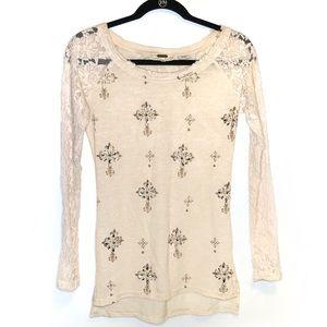 Miss Me Long Sleeve Lace Embellished Cream Shirt